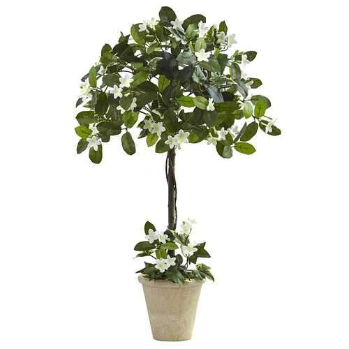 3 Stephanotis Topiary w/Planter Silk Plant