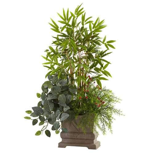 38 Mixed Mini Bamboo, Fittonia & Springeri w/Planter Silk Plant