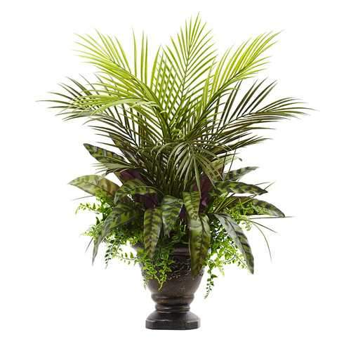 27 Mixed Areca Palm, Fern & Peacock w/Planter Silk Plant