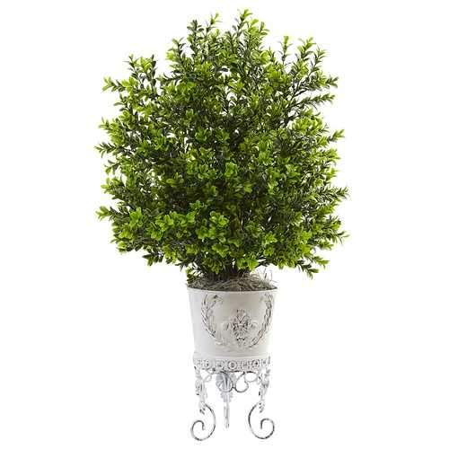 Boxwood with Metal Planter Silk Plant