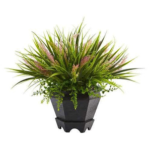 Grass with Planter Silk Plant