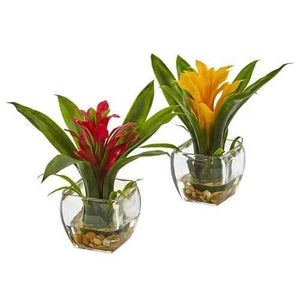 Bromeliad with Vase Arrangement (Set of 2) Silk Plant