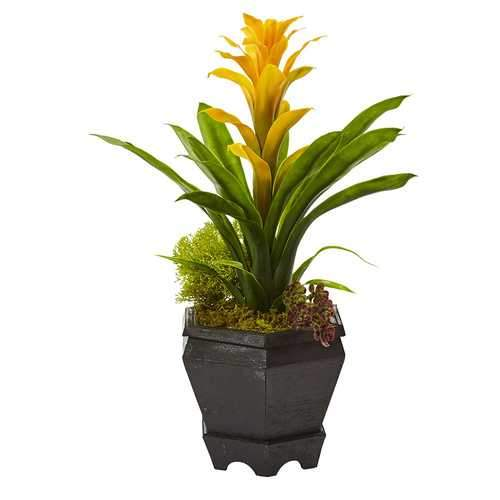 Bromeliad in Black Hexagon Planter Silk Plant