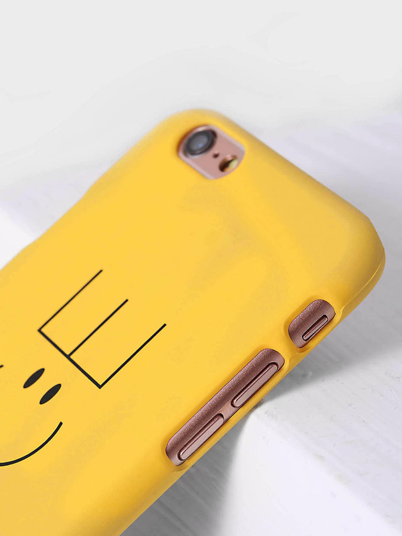 Yellow Letter Print iPhone Case