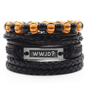 4 PCS/Set Vintage Men Leather Bracelets