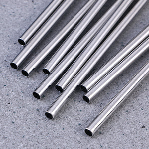 8.5 Inch Stainless Steel Reusable Drinking Straws (10 Pcs)