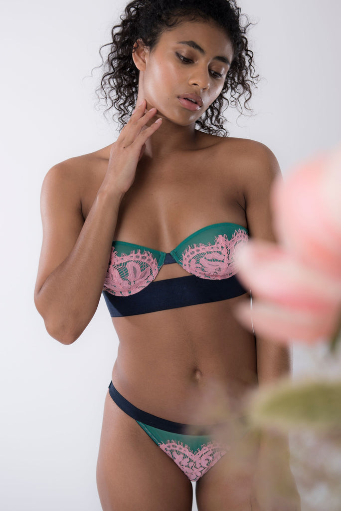 Dora Larsen AW19 lookbook | Colourful Lingerie‎ - Pernille strapless underwire bra and low rise tanga knicker underwear set