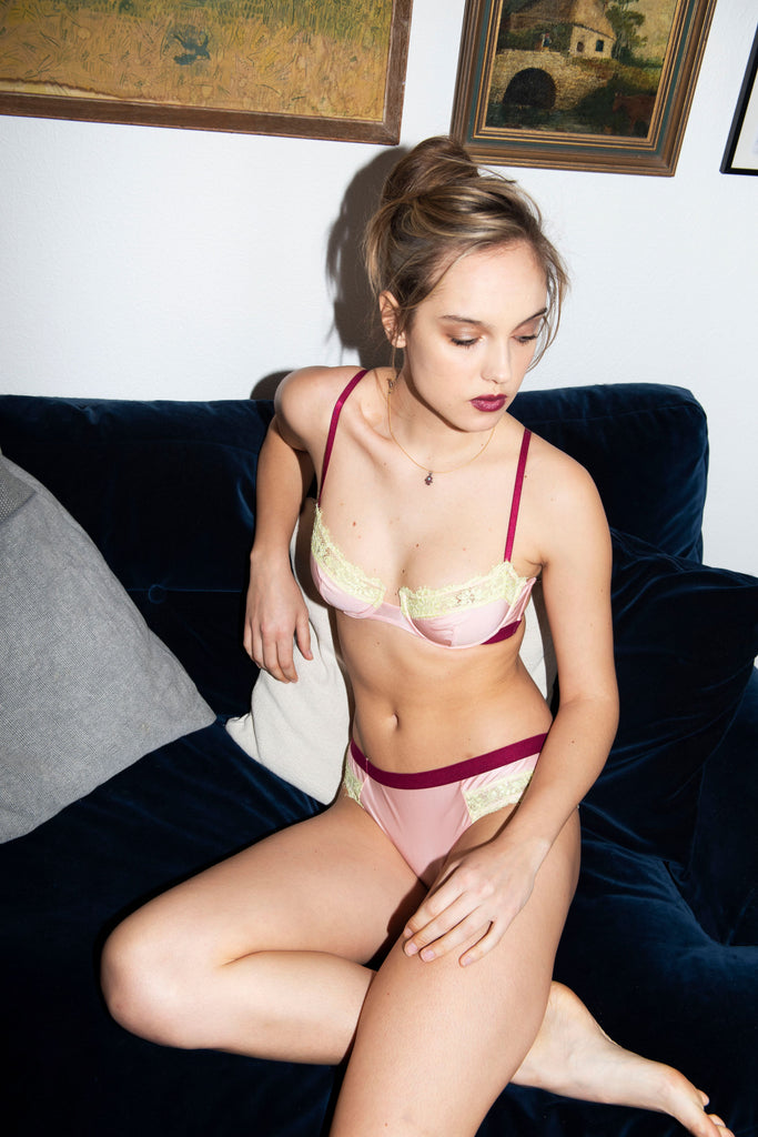 Dora Larsen AW19 lookbook | Colourful Lingerie‎ - Clemence microfibre underwire bra and low rise knicker underwear set