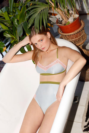 Dora Larsen AW19 lookbook | Colourful Lingerie‎ - Bonnie soft bralette bra and high waist knicker underwear set