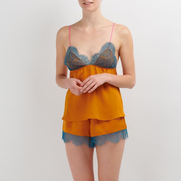 Dora Larsen AW19 | Colourful Lingerie‎ - Laura lace night cami and short nightwear set