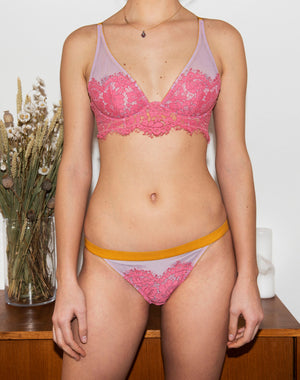 Dora Larsen AW19 lookbook | Colourful Lingerie‎ - Sadie high apex underwire bra and low rise tanga knicker underwear set