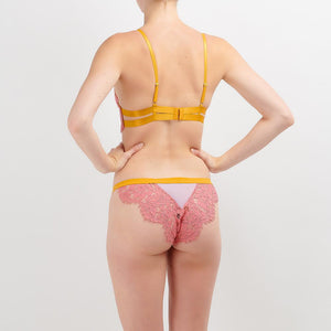 Dora Larsen AW19 | Colourful Lingerie‎ - Sadie high apex underwire bra and low rise knicker tanga underwear set