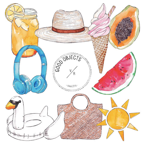 vacation clip art pack watercolor