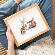 Load image into Gallery viewer, vintage motorcycle watercolor illustration