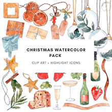 Load image into Gallery viewer, Christmas Watercolor Pack