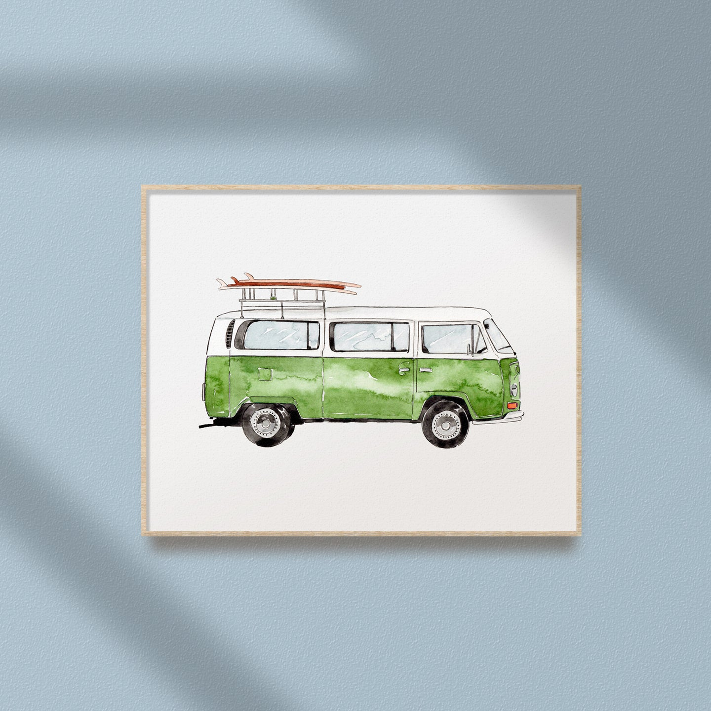 green mini van printable art