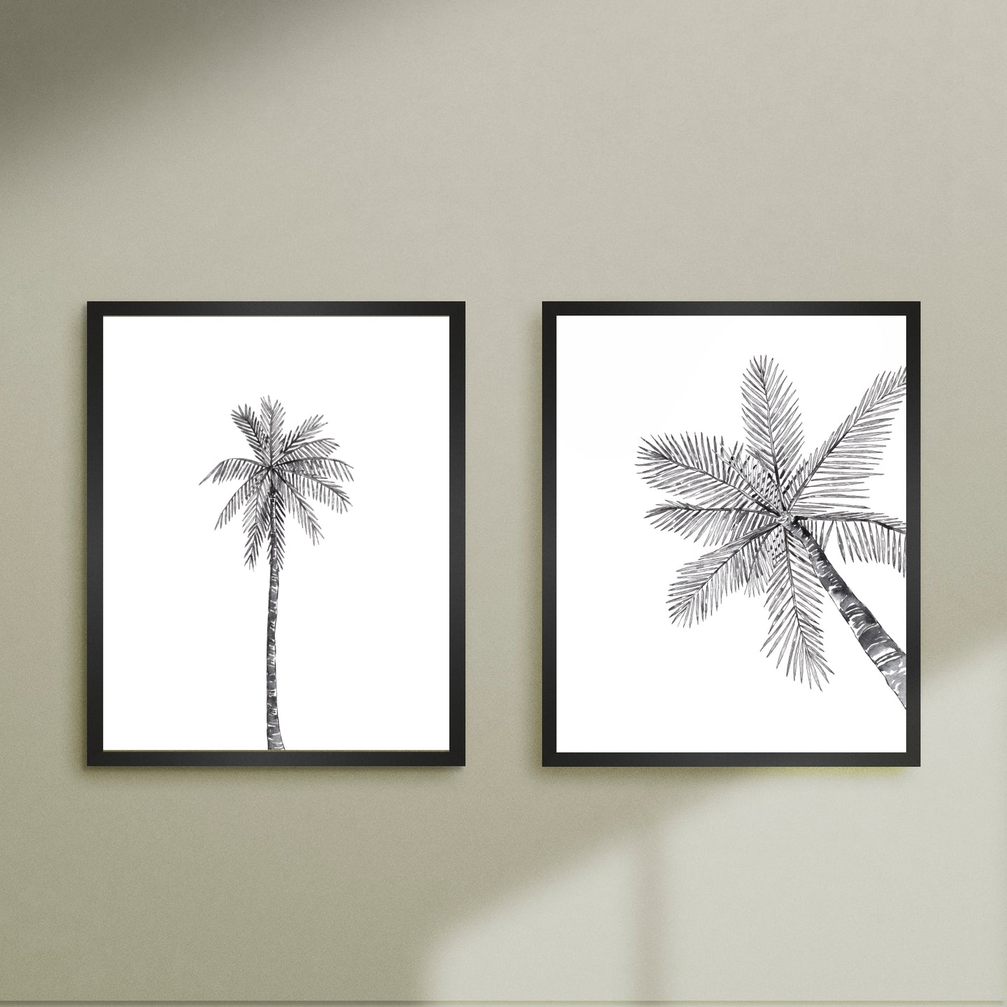 2 black palms printable art