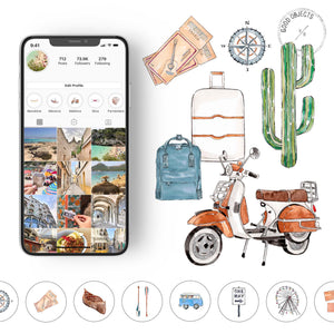 travel watercolor icons