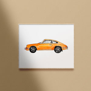 yellow vintage car printable art