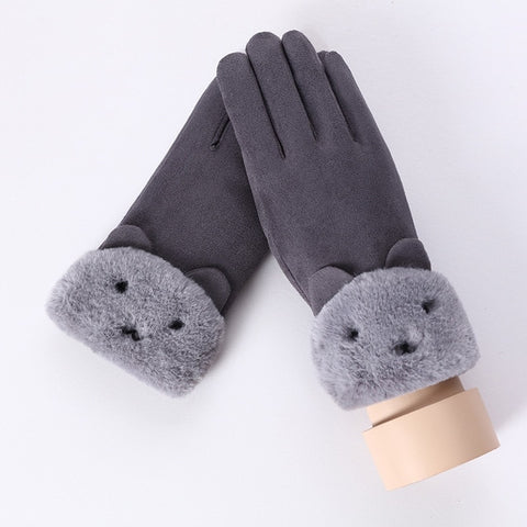 New Female Lace Warm Gloves