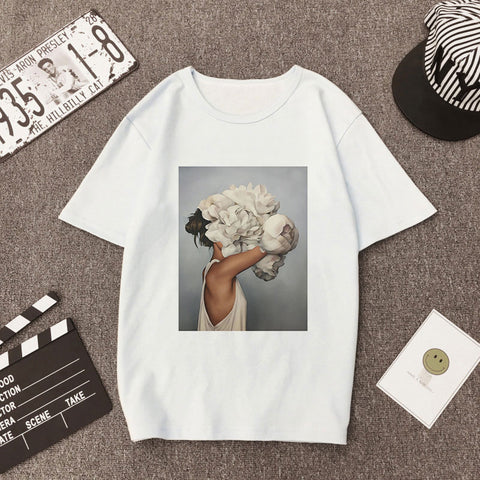 Plus Size Women Summer Print T-shirt