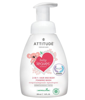 Attitude Canada- Baby Leaves 2 in 1 Hair and Body Foaming Wash- Orange Pomegrante 295 ml(幼兒洗頭及沖涼泡泡二合一-橙石榴味)