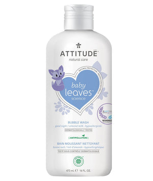 Attitude Canada- Baby Leaves Bubble Wash -Night Almond Milk 473 ml(幼兒抱抱浴-甜杏仁味)