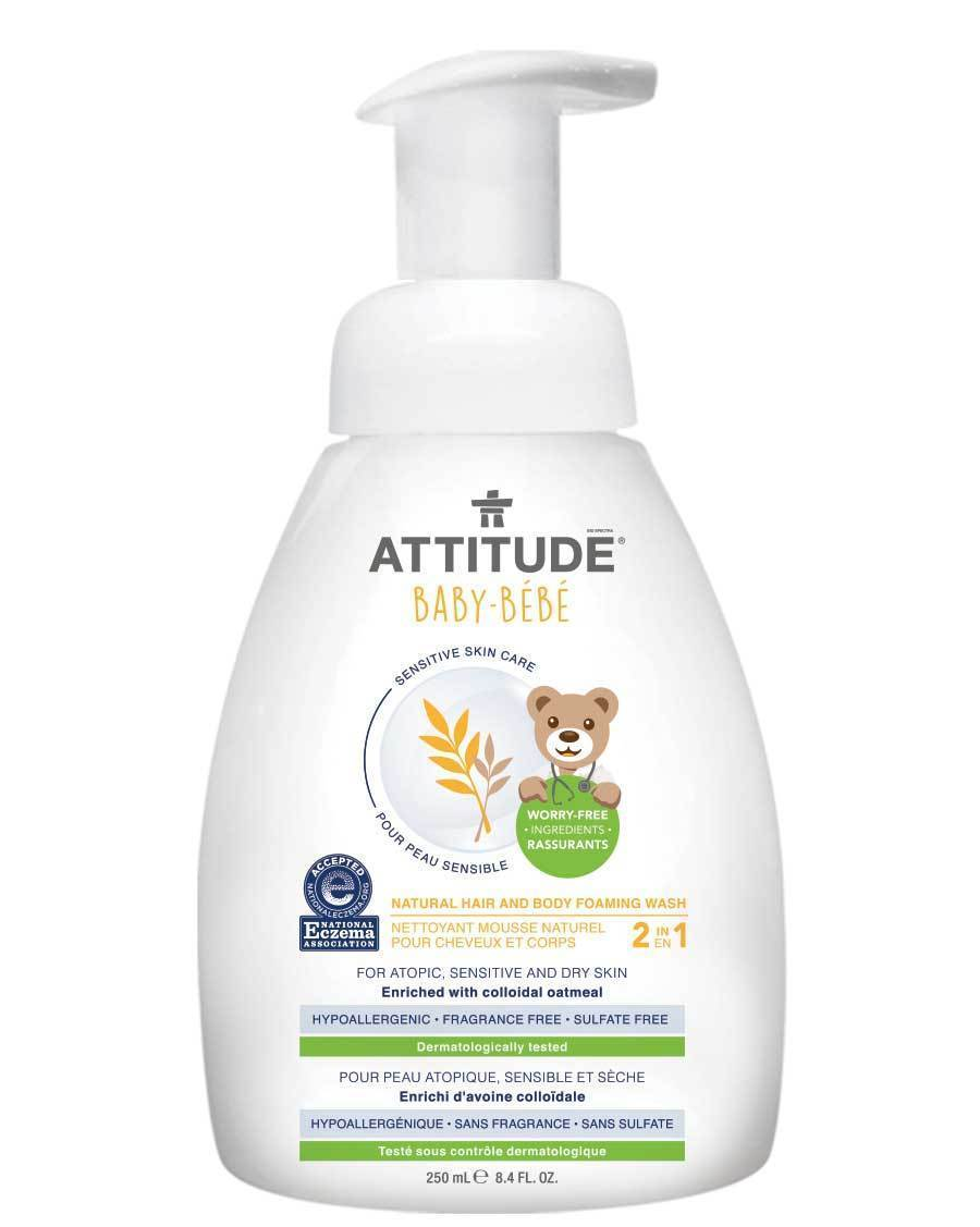 Attitude Canada- Sensitive Skin BABY 2 in 1 Hair and Body Foaming Wash 250 ml ( Ezcema friendly)(敏感肌嬰兒專用洗髮及沖涼泡泡-濕疹肌膚適用)