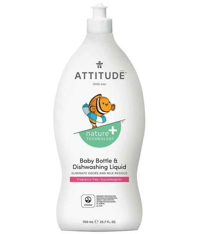 Attitude Canada- Baby Bottle & Dishwashing Liquid- Fragrance Free 700 ml(嬰兒餐具及奶樽清潔液-無味配方)