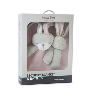 Bubba Blue Australia Bunny Hop Security Blanket & Rattle Set(澳洲Bubba Blue 甜睡兔兔系列-新穎可愛安撫巾)