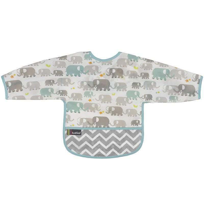 Kushies Canada-Clean Bib with Sleeves- Elephant 加拿大品牌Kushies有袖飯衣/多功能防污圍衣
