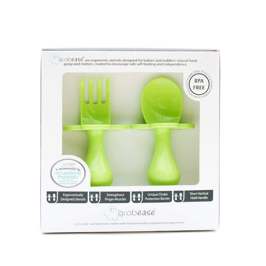 Grabease USA- Eating Utensils Set For Toddlers -Green Apple 美國Grabease幼兒學習雲朵餐具-青綠色