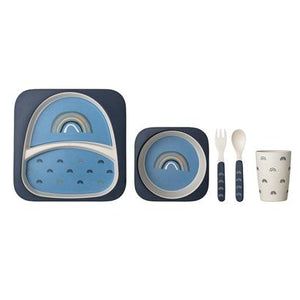 Bloomingville Denmark- Henry Serving Set, Blue, Bamboo Melamine, Set of 5 丹麥品牌兒童餐具套裝(5件)