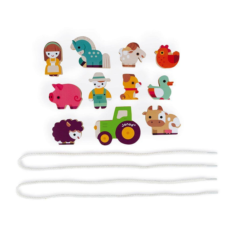 Janod France- Stringable Farm Themed Beads 法國品牌Janod 玩具(動物與農夫)