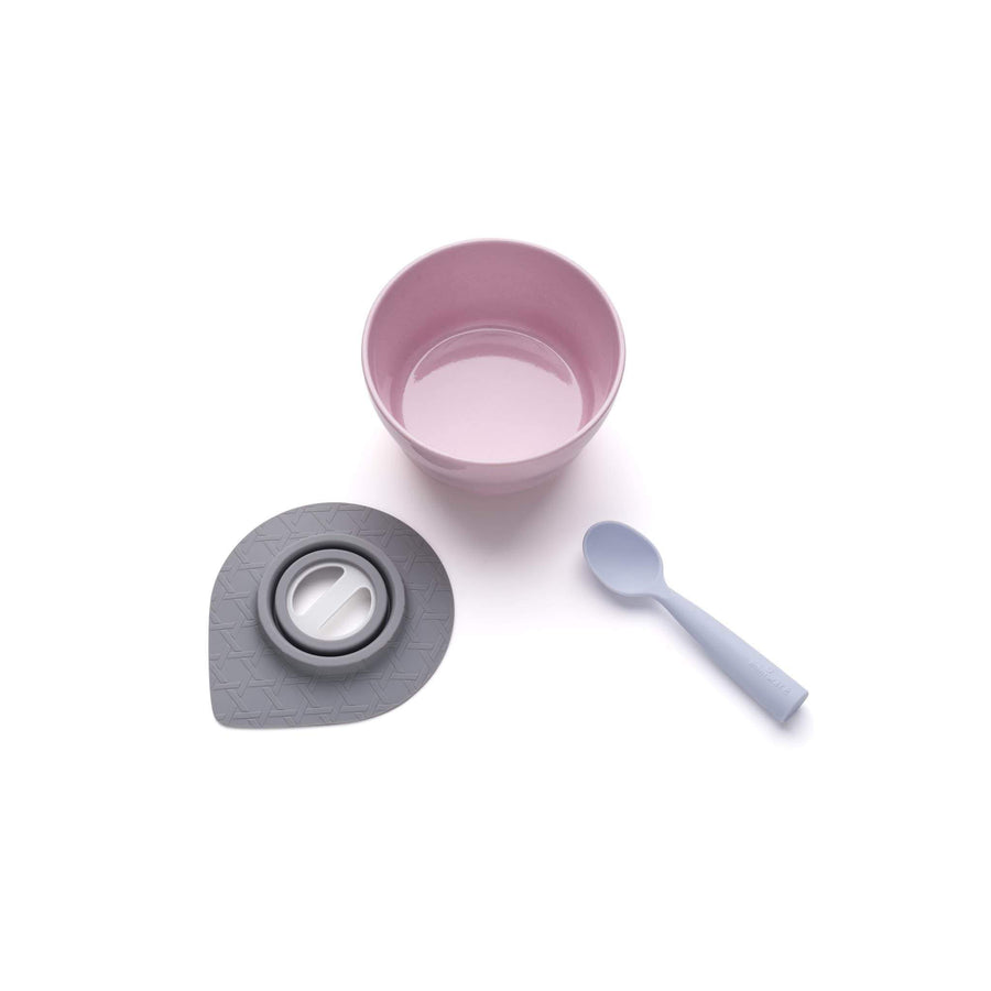 Miniware Taiwan First Bite Set - Cereal Bowl Cherry Blossom  + Spoon Lavender 台灣Miniware天然植物製飯碗+食用級矽膠匙羹