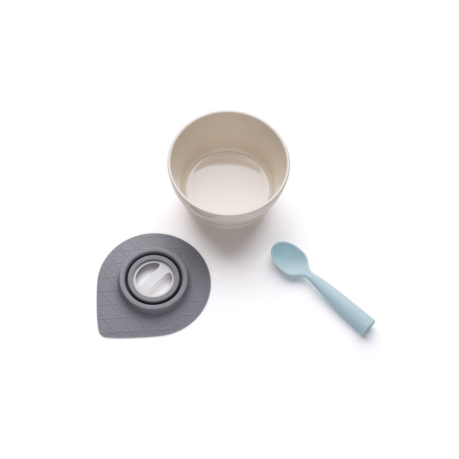 Miniware Taiwan First Bite Set - Cereal Bowl Natural Bamboo + Spoon Mint  台灣Miniware天然植物製飯碗+食用級矽膠匙羹