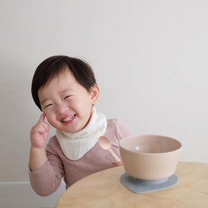 Miniware Taiwan First Bite Set - Cereal Bowl Sandy Stone  + Spoon Peach 台灣Miniware天然植物製飯碗+食用級矽膠匙羹