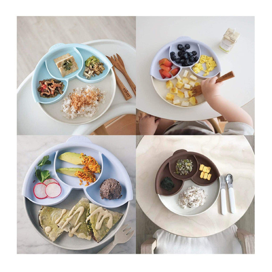 Miniware Taiwan Smart Divider Plate Set - Natural Bamboo+Mint 台灣Miniware天然植物製食物分隔盤