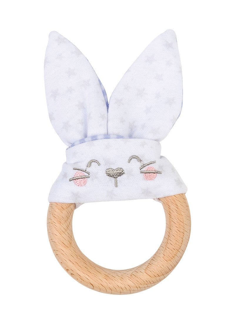 "Saro Baby Madrid- NATURE TOY ""BUNNY"" Teether - Blue 小兔耳咬咬巾"
