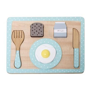 Bloomingville Denmark- Play Set, Food, Multi-color, Lotus, Light Blue 丹麥品牌木製餐桌食物兒童玩具