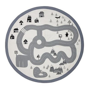 Bloomingville Denmark- Rug, Grey, Cotton (Car Track Print)丹麥品牌兒童玩味道路場景小型地氈