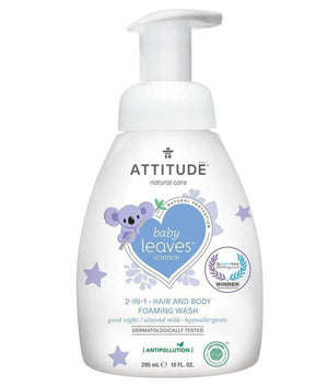 Attitude Canada- Baby Leaves 2 in 1 Foaming Hair and Body Wash-Night Almond Milk 295 ml(幼兒洗頭及沖涼泡泡二合一-甜杏仁味)