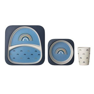 Bloomingville Denmark- Henry Serving Set, Blue, Bamboo Melamine, Set of 3 丹麥品牌兒童餐具用品套裝(3件)
