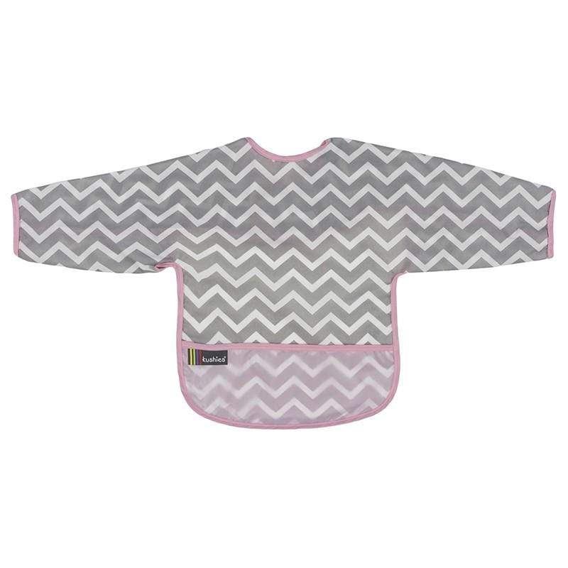 Kushies Canada- Clean Bib with Sleeves- Pink Chevron 加拿大品牌Kushies有袖飯衣/多功能防污圍衣