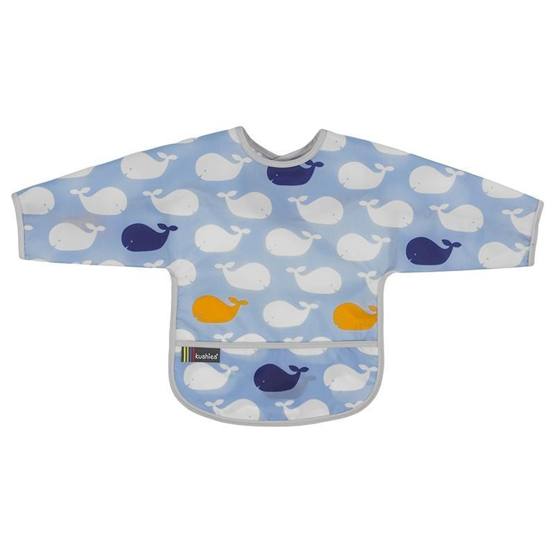Kushies Canada- Clean Bib with Sleeves- Whales 加拿大品牌Kushies有袖飯衣/多功能防污圍衣