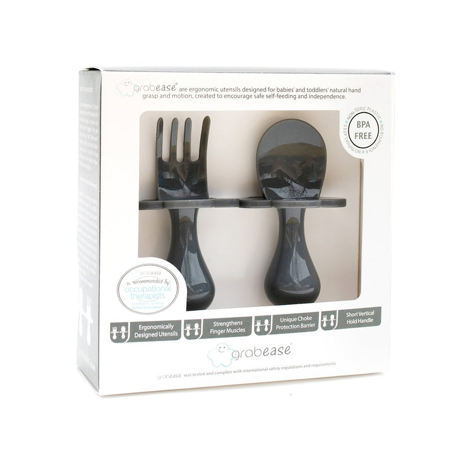 Grabease USA- Eating Utensils Set For Toddlers -Grey Dream 美國Grabease幼兒學習雲朵餐具-炭灰色