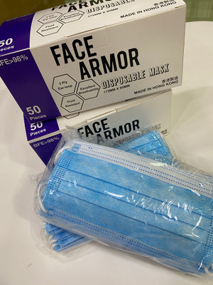 Face Armor 3- Ply disposable Face Mask 成人口罩 (BFE > 98%  VFE > 98%  PFE > 98%) - 1盒50片非獨立包裝(香港製造)