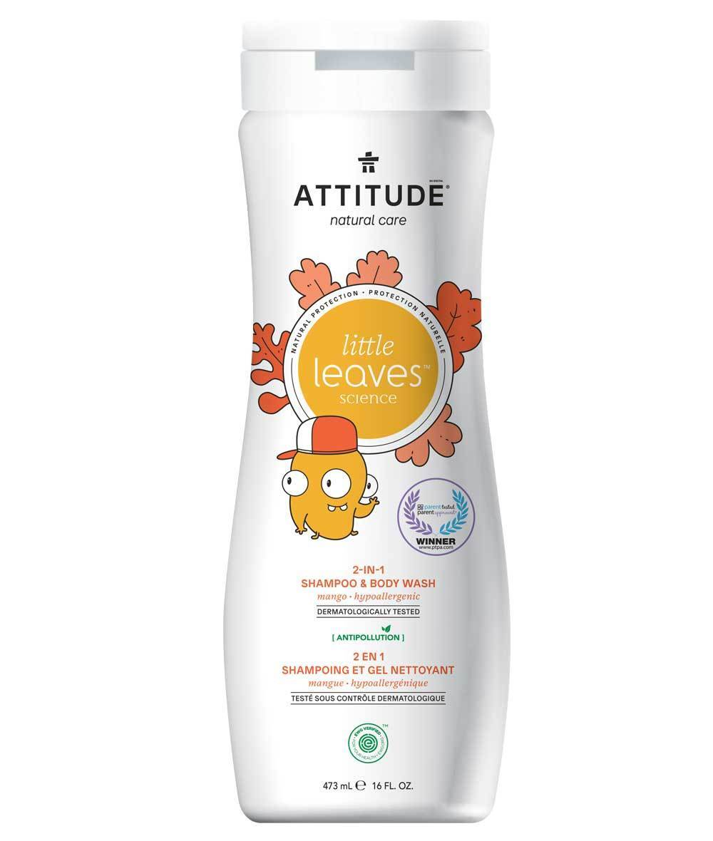 Attitude Canada- Little Leaves 2 in 1 Shampoo & Body Wash- Mango Hypoallergenic 473 ml(兒童洗髮及沖涼液2合1-芒果味)