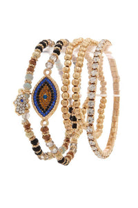 Evil Eye Rhinestone Beaded Stretch Bracelet Set