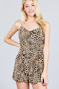 V-neck Button Detail Animal Print Cami Romper